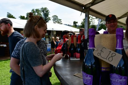 Food and wine festival customer sampling Renegade and Longton pure elderflower sparkling wine