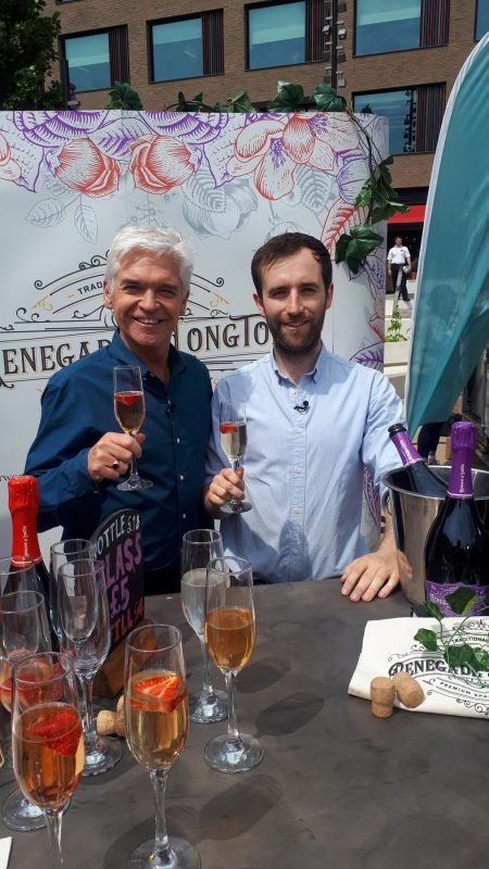 Renegade and Longton founder with Phil Schofield on This Morning sampling elderflower wine