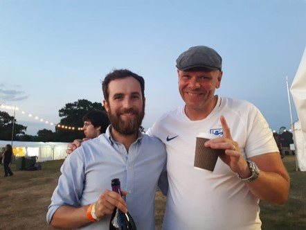 Renegade and Longton founder Brendan Thomson with Pub in the park host Tom Kerridge with a bottle of elderflower wine