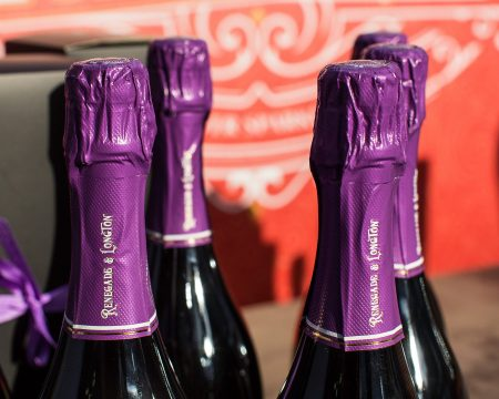close up photo of the top of 4 bottles of Renegade and Longton pure elderflower sparkling wine
