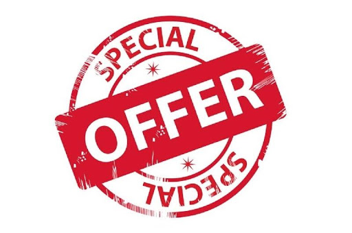 Special offer sign in red with offer in larger writing