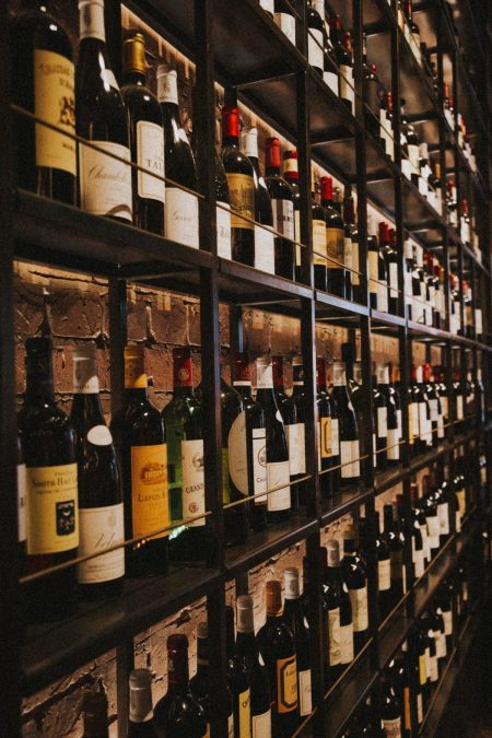 Wine shop with rows and rows of wine displayed for sale