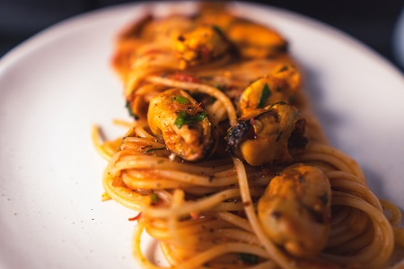 Linguine pasta dish prepared to pair with elderflower wine